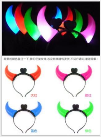Parpadeo del diablo Cuernos Luces de Navidad que funcionan con batería Led adornos de cabeza Led pinza de pelo EL ccsme envío gratis