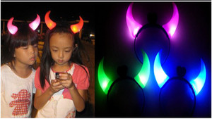 Wholesale Blinking Devil Horns Battery operated Christmas Lights Led Head Ornaments Led Hair Clip EMS