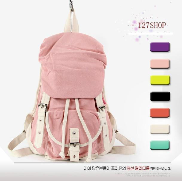 New arrivals korean women 39 s fashion canvas bag leisure bag girl backpack college style bag Korean style fashion girl bag
