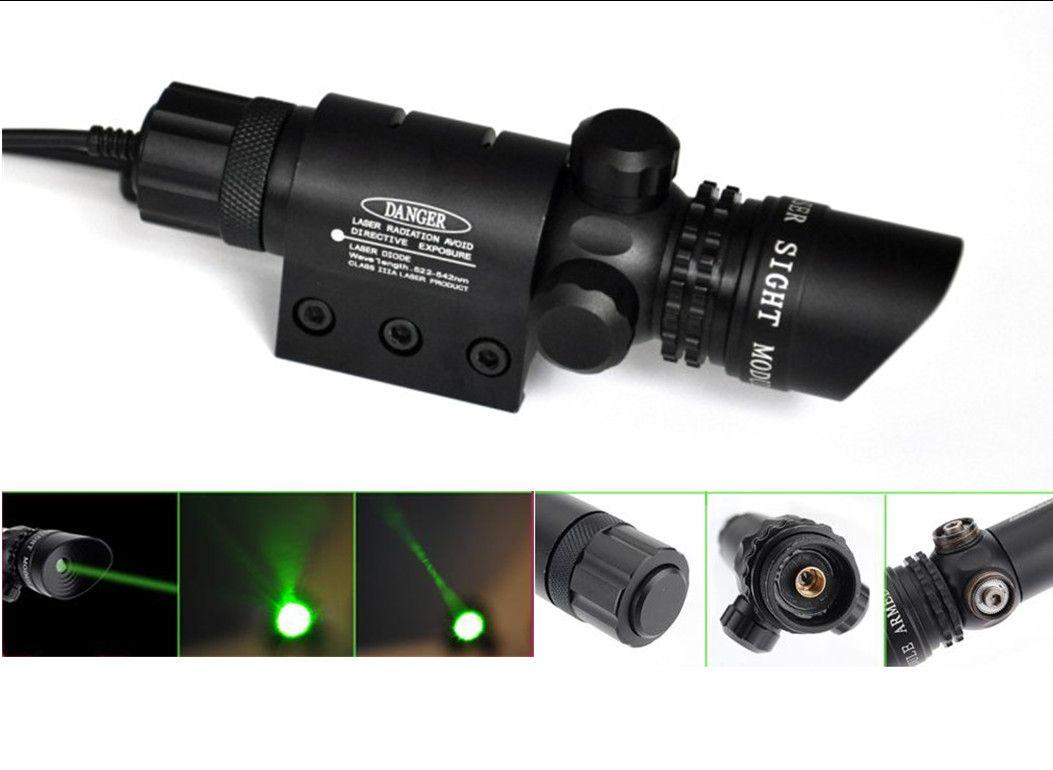 Green Laser Dot Sight Scope 2 Interruptores Mount Rail Caza Air Rifle Gun Box Set
