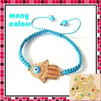 Wholesale Cheap Hamsa Jewelry - Cheap Turkey Evil Eye Beads hand-woven Hamsa Hand Bracelet beads charms jewelry.(20 40 60)pcs lot