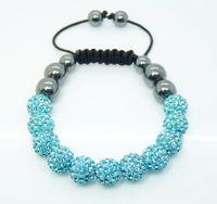 Wholesale Disco Bracelet 11 Ball - Hit Parade Auquamarine 11*10mm Shining Disco Ball Crystal Beads Hematite Ball Bracelet 10pcs