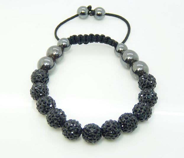 Hit Parade Auquamarine 11 * 10mm Brillant Disco Ball Perles Cristal Hematite Ball Bracelet