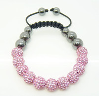 Wholesale bead bracelet disco ball resale online - Fashion Jewelry mm Pink Micro Pave Disco Ball Crystal Beads Hematite Ball Bracelet