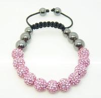 ingrosso disco ball bracelets-Monili di modo 12pcs 10mm rosa micro pavimenta la sfera della discoteca branelli di cristallo del braccialetto della ematite