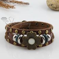 Wholesale Elegant Jewelry For Men - Elegant flower triple layers genuine leather charm bracelets jewelry adjustable for men and women