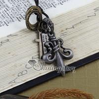 Wholesale fleur lis pendants wholesale - Fleur de lis leather long chain pendants adjustable necklaces jewelry for men and women unisex