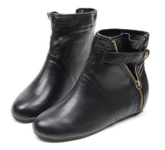 Vintage Womens Hidden Wedge Heels Round Toe Punk Ankle Slouch ...