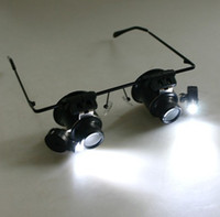 Wholesale Magnifying Lens Led - 20X Magnifier Magnifying Eye Glasses Loupe Lens Jeweler Watch Repair LED Light