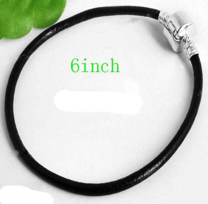 30st * 925 Silverpläterad Svart Läderarmband Passform European Bead Charms Armband 6.0-7.0Ic
