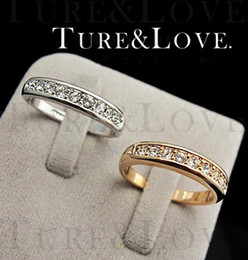 Wholesale Rigant Diamond Rings - Jewelry Rings Rigant 18k gold-plated finger ring Simulated Diamond crystal CZ diamond Rhinestone 260