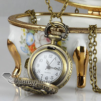 пасхальные часы оптовых-цветок карманные часы антиквариат маленький карманные часы дамы античный кулон часы ручной работы ожерелье
