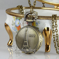 Wholesale Eiffel Pocket Watch - Antique style La Tour Eiffel brass long chain pocket watch pendants necklaces for men and women