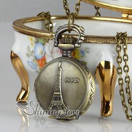 Wholesale Eiffel Tour - Antique style La Tour Eiffel brass long chain pocket watch pendants necklaces for men and women