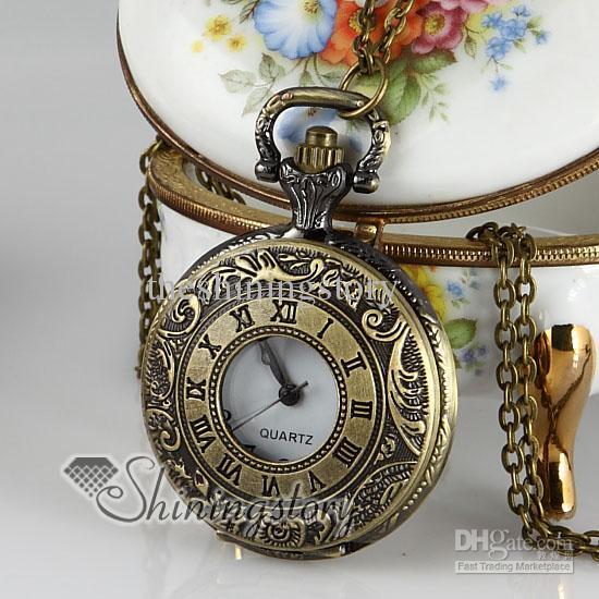 b4819e381 Wholesale Copper Style Long Chain Pocket Watch Pendants Necklaces ...
