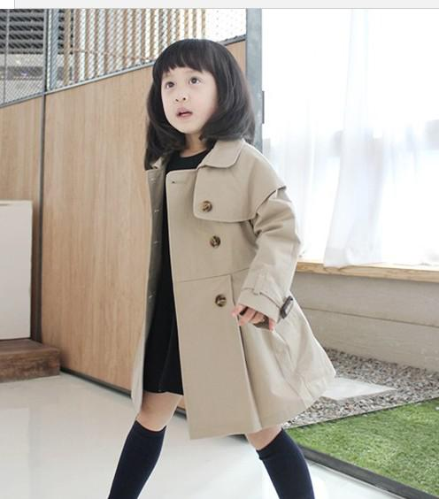 Korean Girls Children Trench Coat Jacket Coat Easy Care Children's ...