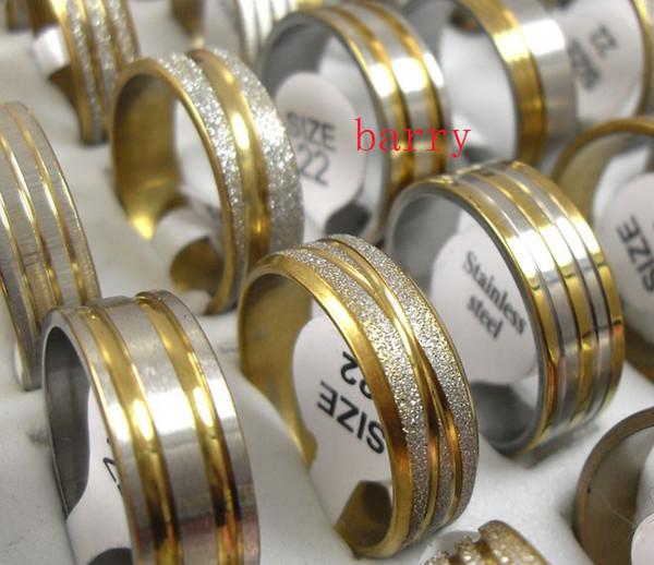 50pcs Top Golden mix diseño moda acero inoxidable anillos al por mayor lotes de joyas