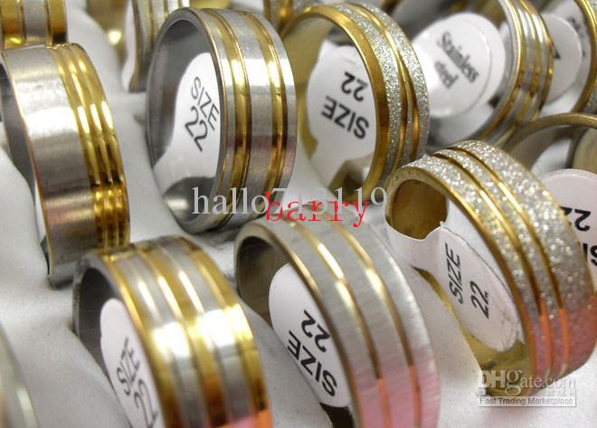 Top Golden mix diseño moda acero inoxidable anillos al por mayor lotes de joyas