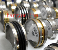 Wholesale Bulk Rubber - Wholesale 36Pieces Golden-Silver-Black Rubber Top Mix Stainless steel Band Rings Men Women Fashion HOT jewelry bulk lots