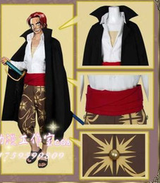 Wholesale one shirt anime for sale – custom Japanese Cartoon Anime One piece Captain Red Haired Shanks Cosplay Costume Set Cape Pants Shirt Sash