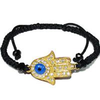 ingrosso bracciale kabbalah hamsa mano-braccialetti di fascino di hamsa del braccialetto di hamsa della mano del connettore dell'occhio diabolico del cristallo dell'oro di oro chiaro jewelry20 / 60pc