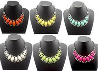 Wholesale Color Acrylic Gem Stones - New Coming Fashion Gun-Black Metal Resin Oval Gem Stone Zircon Choker Necklace 8pcs lot mix color