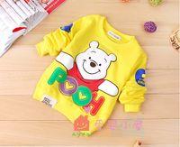 Wholesale Boys Yellow Cartoon Bear - 2016 new children boy girl Autumn Cartoon bear long sleeved T-shirt kid sweater Coat overcoat 4pcs  lot edison168