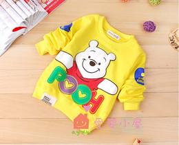 Wholesale Cartoon Bear Long Sleeved Shirt - 2016 new children boy girl Autumn Cartoon bear long sleeved T-shirt kid sweater Coat overcoat 4pcs  lot edison168