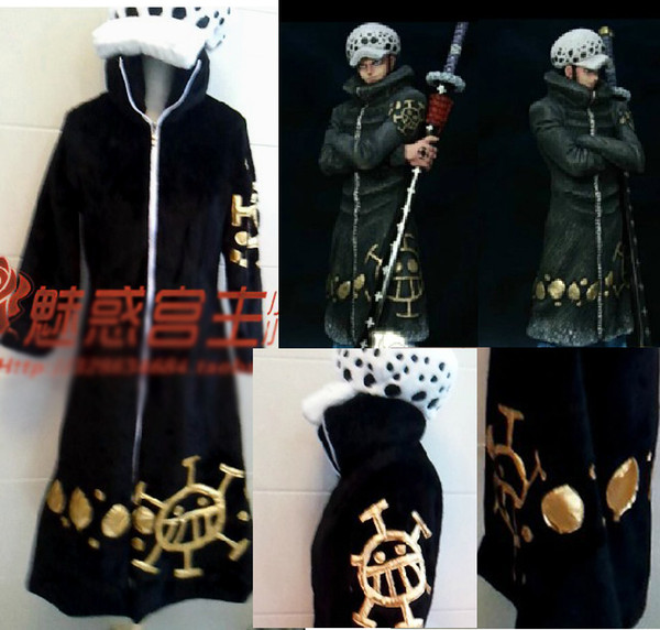 best selling Japanese Cartoon Anime cosplay One piece Trafalgar Law Cosplay Costume Set Jacket + Pants + Cap + Winter Cloak
