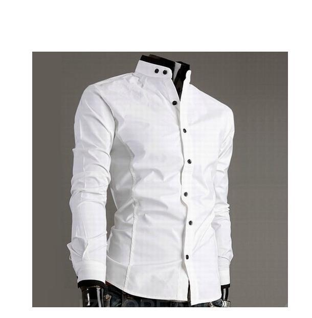 stand-up collar long-sleeved shirt collar hit color cotton men's Slim long-sleeved s