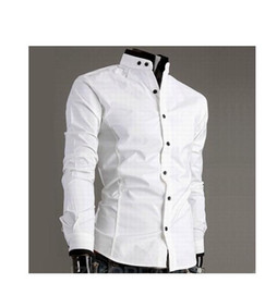 Wholesale Long Sleeved Black White Collared Dress - Free shipping - stand-up collar long-sleeved shirt collar hit color cotton men's Slim long-sleeved s