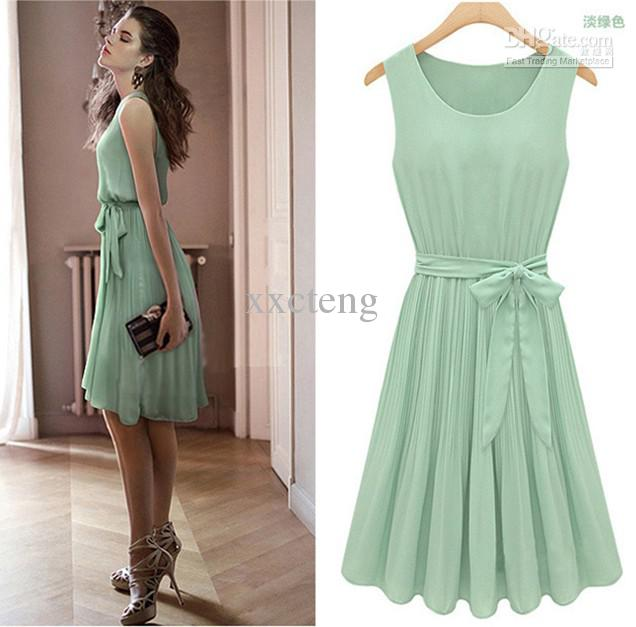 Euramerican Women Summer Chiffon Dress Lady'S Slim Fit Sleeveless ...