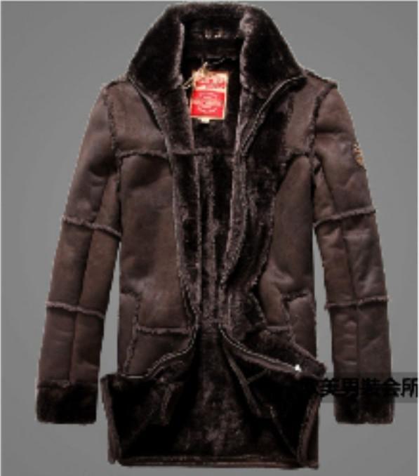 Envío gratis Nuevas chaquetas de invierno Ropa de piel de fuerza de alta gradeair para hombres Agregar flocado agregar piel gruesa chaqueta antipolvo de cuero / M-XXL