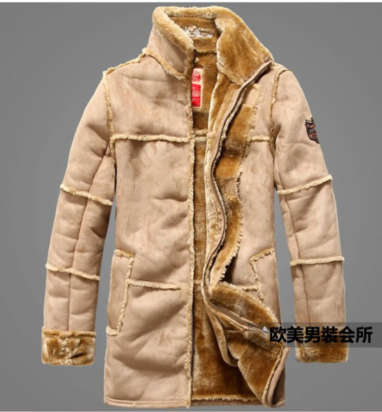 best selling Free shipping New winter Jackets Men's high-gradeair force fur clothing Add flocking add thickened fur leather dust coat Jacket   M-XXL