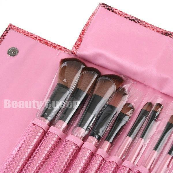 15st Verfassungs-Bürsten-Lidschatten-Set Augenbrauen Kamm mit oben Schlange-Muster-rosa Tasche Make-up-Pinsel