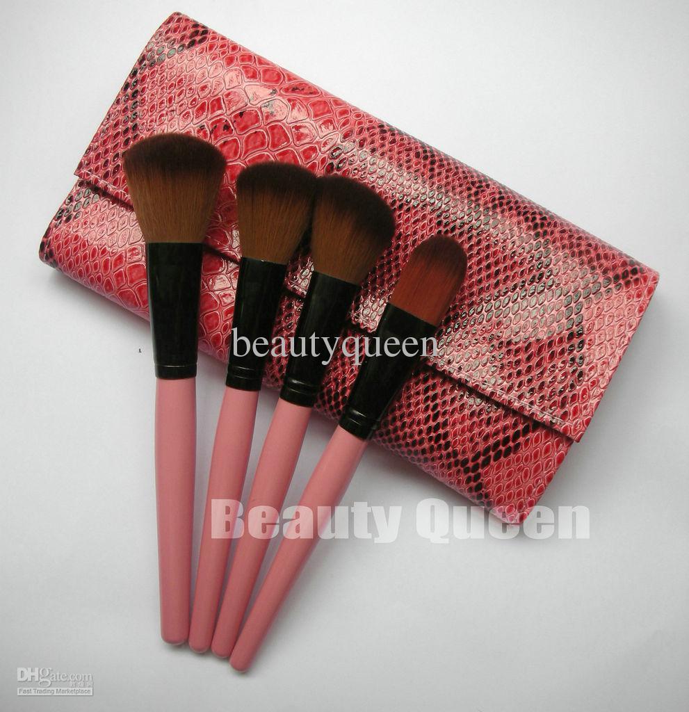 pinceaux de maquillage fard à paupières peigne à sourcils avec Retroussez Motif serpent rose Sac maquillage pinceau