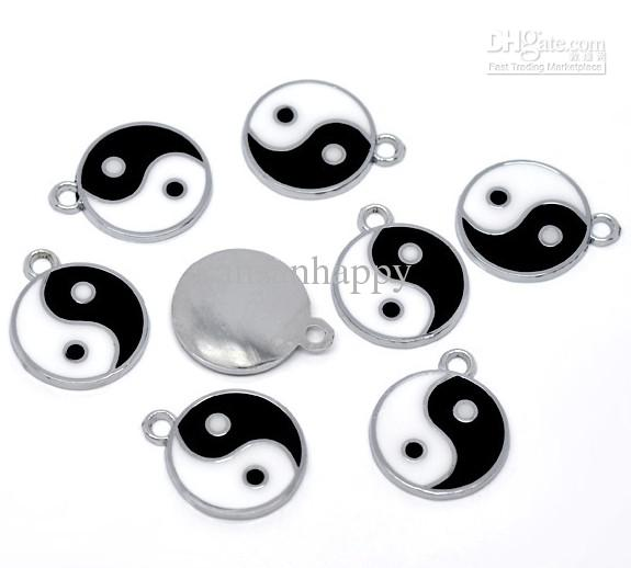 Silber Ton Emaille Yin Yang Charm Anhänger 25x20mm