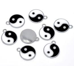 Wholesale Yin Yang Pendants - 100pcs Silver Tone Enamel Yin Yang Charm Pendants 25x20mm