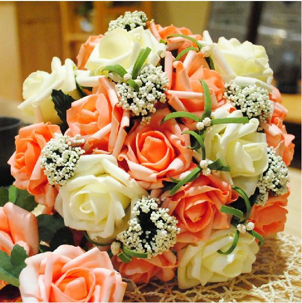 Wedding Bouquet Artificial Orange Rose Flowers ,Bridal