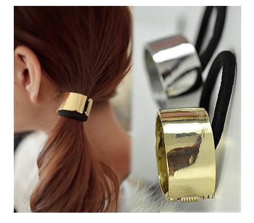 Punk hästsvanshållare metall cirkel kotte manschett hår slips kvinnor smycken 12st