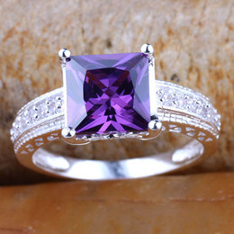 Wholesale Huge Cut - Silver Rings for Women Princess Cut Purple Cubic Zirconia Huge Handsome Engagement Rings Sizes & Colors Selectable R080