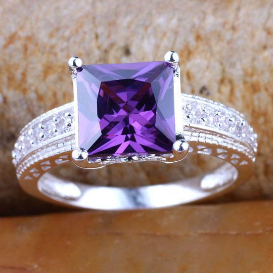 Silver Rings for Women Princess Cut Purple Cubic Zirconia Huge Handsome Engagement Rings Sizes & Colors Selectable R080