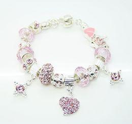Wholesale Beaded Diamond Bracelets - New Desin 925 Silver 10pcs Pink European Beads Fit Diamond Bead Heart Rhinestone Charms Bracelet