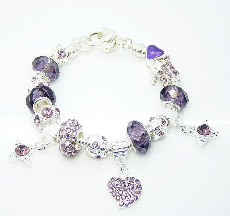 Nieuwe 925 zilveren armband zwart Europese Crystal Beads Fit Rhinestone Bead Heart Charms Armband 12 stks