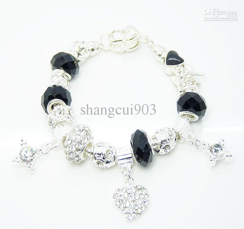 Nouveau Bracelet en argent 925 Perles de cristal européennes noires Fit Strass Bead Heart Charms Bracelet