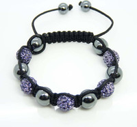 Wholesale Disco Magnetite - Handmade Fashion 10mm Light Purple Disco Ball Crystal Beads Fit Magnetite Ball Bracelet 20pcs