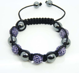 Wholesale Disco Magnetite - Handmade Fashion 10mm Light Purple Disco Ball Crystal Beads Fit Magnetite Ball Bracelet 20pcs