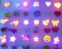 Wholesale mix fashion brooches resale online - Free Ship Pieces Mixed Fashion Led Flashing Glow Brooches for Party Disco Wedding Christmas Gift