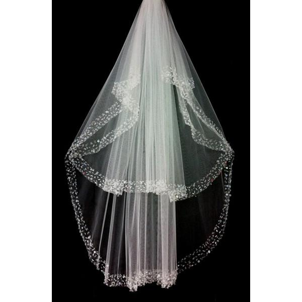 100% igual a imagem quente vender acessório de casamento dois camada tule cristal frisado borda nupcial véu
