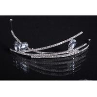 diadèmes de mariage simples achat en gros de-Strass cristal simple mariage élégant bandeau mariée accessoire de cheveux Sparkle Pageant Prom Party Crystal tiara 2016